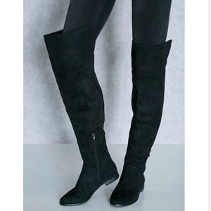 Black Perforated Lace Cuff Over The Knee Boots